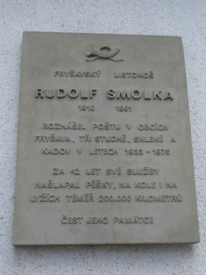 Fryšava - commemorative plaque to a local postman
