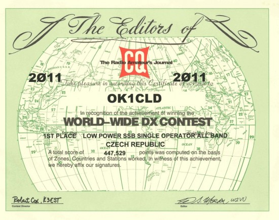My certificate for CQ WW DX SSB 2011