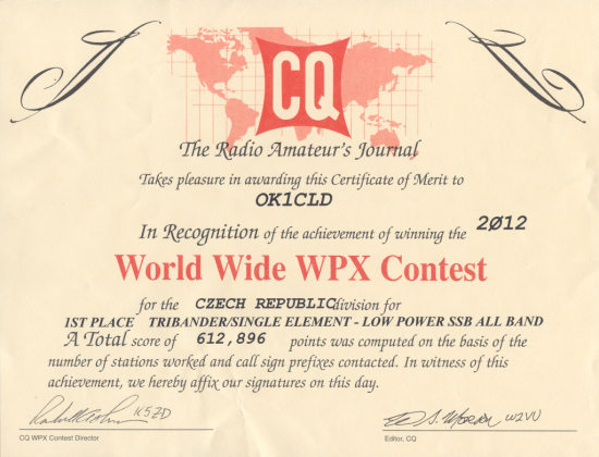 My certificate for CQ WPX SSB 2012